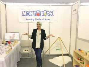 Monti Kids founder Zahra Kassam in the 2017 New York Baby Show Booth
