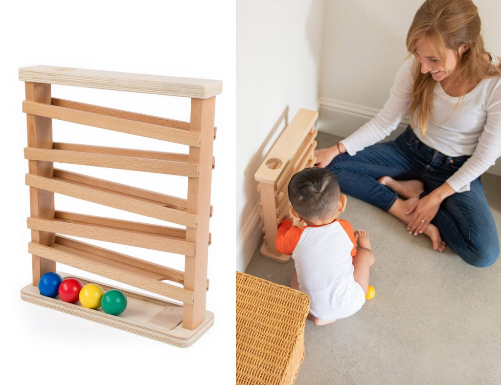 Learning toy for toddler who is squatting and standing