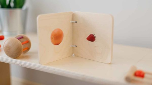 wooden fruit book for baby