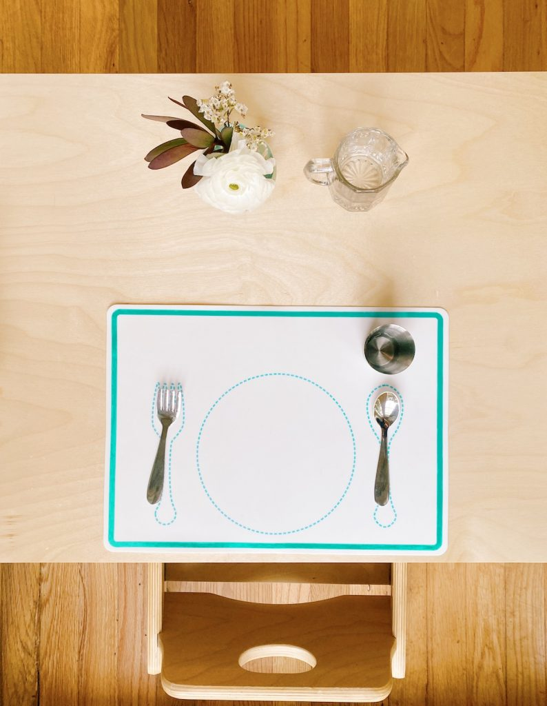 Toddler place setting at weaning table